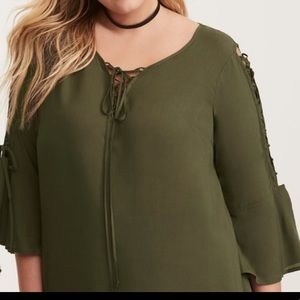 Torrid Olive Green Lace up Tie Challis Blouse 3